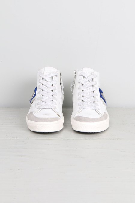 Leather Crown Donna Classic Hightop W/ Blue Pony Sneakers