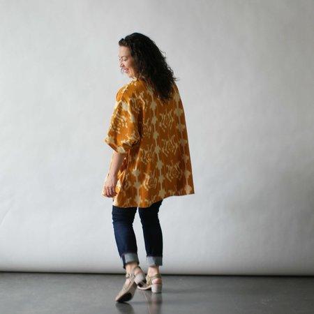 Susan Eastman Studio Kimono Coat in Mustard Ikat