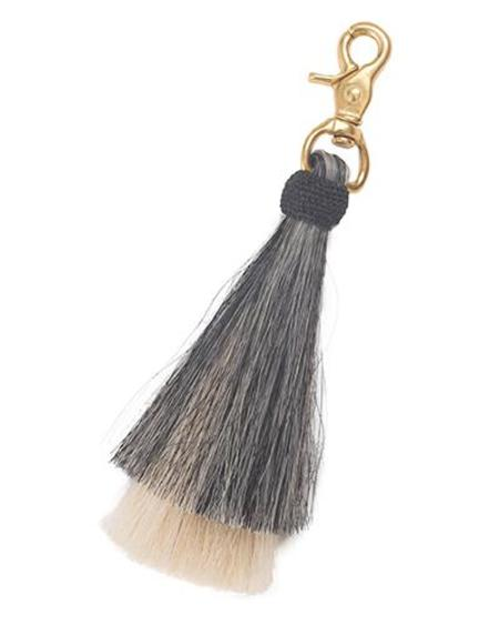 Oliveve grey/blonde double bell horse hair tassel on brass clip