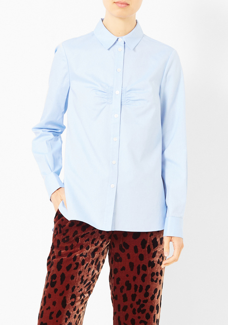 Tibi Oxford Shirred Shirting  Shirt