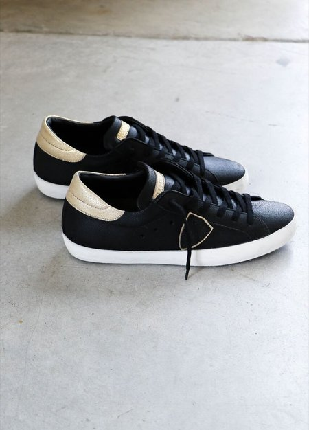 Philippe Model Paris Basic Sneakers in Black + Gold