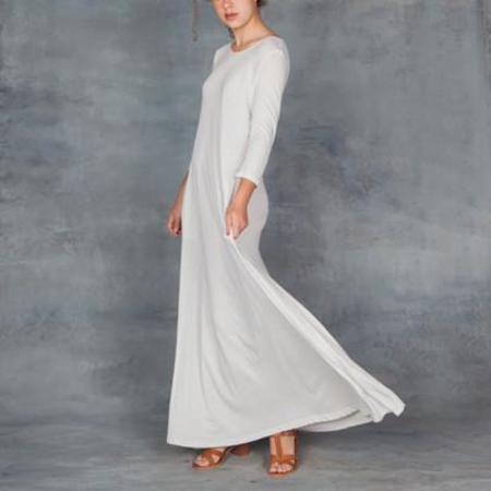 Raquel Allegra 3/4 Sleeve Drama Maxi Dress