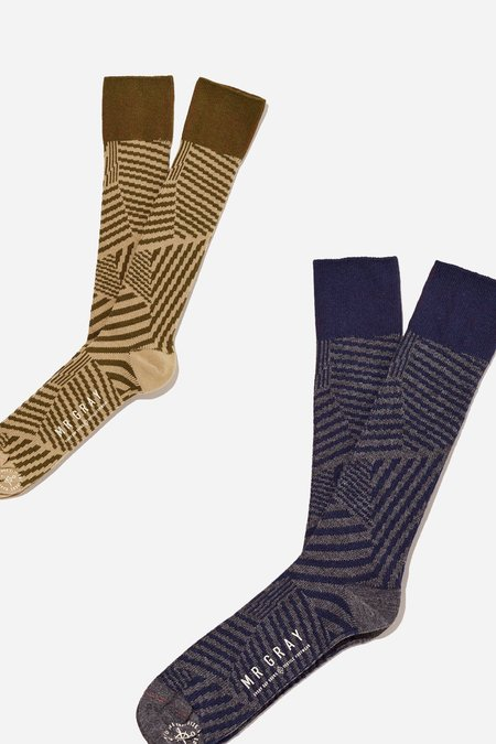 Mr. Gray Dazzle Camo Print Sock - Olive + Navy