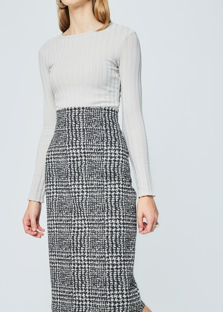 Odeeh Houndstooth Print Fitted Skirt