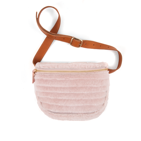 CLARE V. FANNY PACK BLUSH SHEARLING