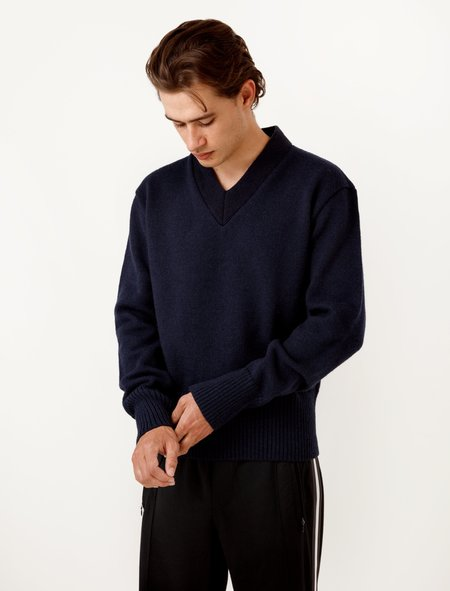 Our Legacy V-Neck Pullover Navy Compact Wool