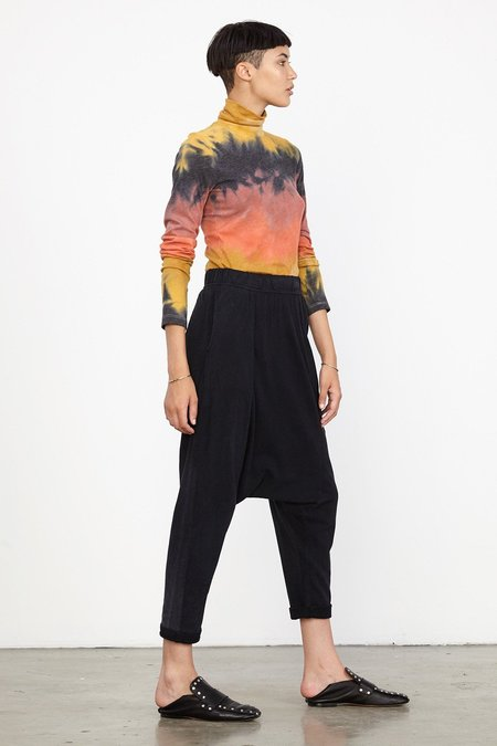 Raquel Allegra BLACK SUEDED JERSEY CROPPED SLOUCHY PANT