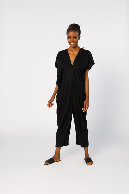 Miranda Bennett Everyday Jumpsuit in Black Silk Noil