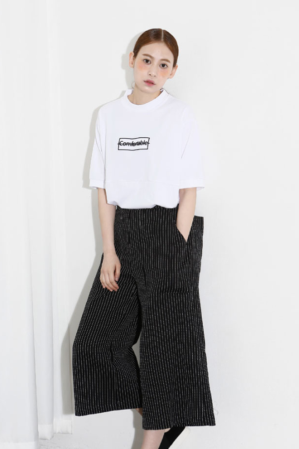 AMONG by ROCKET X LUNCH Striped Crop Trouser- Black