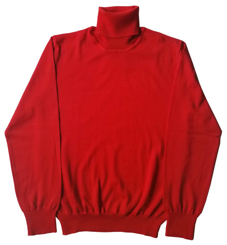 David Hart RED EXTRA FINE MERINO TURTLENECK