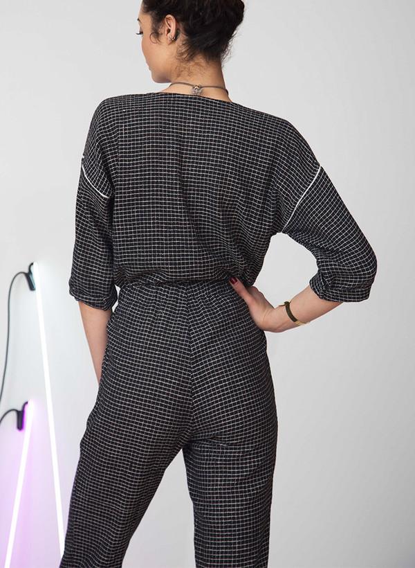 Seek Collective Rilke romper | black grid weave