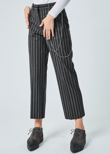 Ter et Bantine Striped Dress Pant with Hip Chain