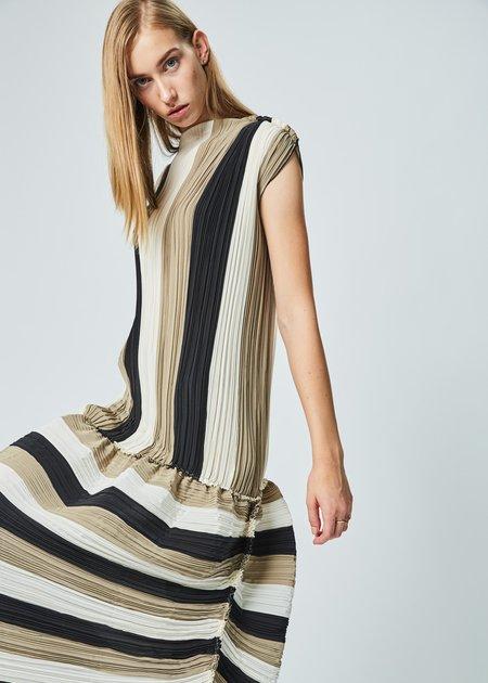 Ter et Bantine Striped Pleat Shift Dress