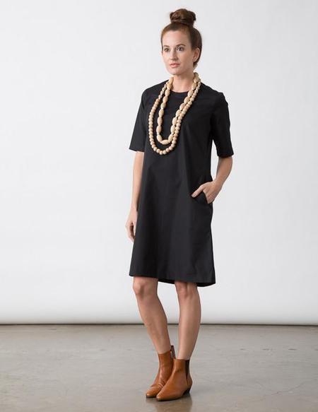 SBJ Austin Cat Dress in Black Italian Poplin