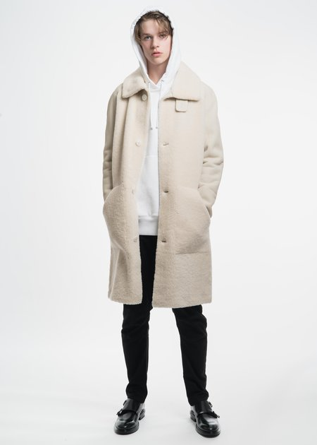 Tim Coppens White Shearling Motocross Leather Coat