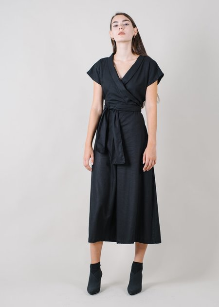 REIFhaus Ramona Wrap Jumpsuit in Black Linen