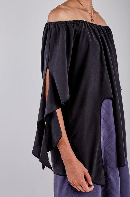 Kahle Off Shoulder Handkerchief Blouse - Black