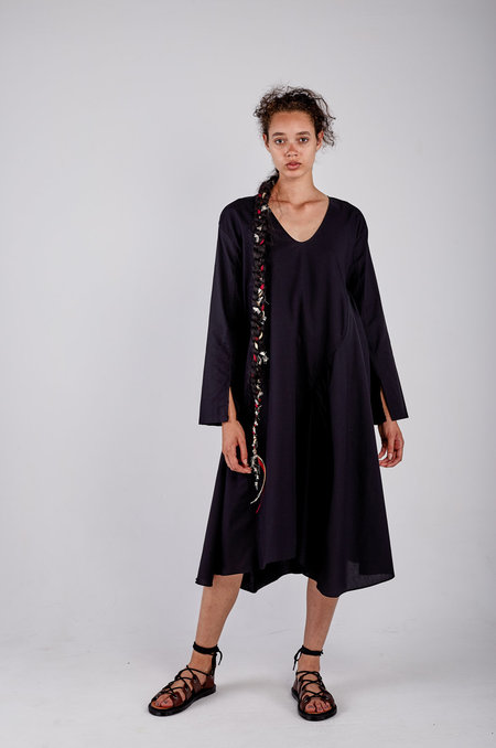 Kahle Gathered Inset Long Sleeve Dress