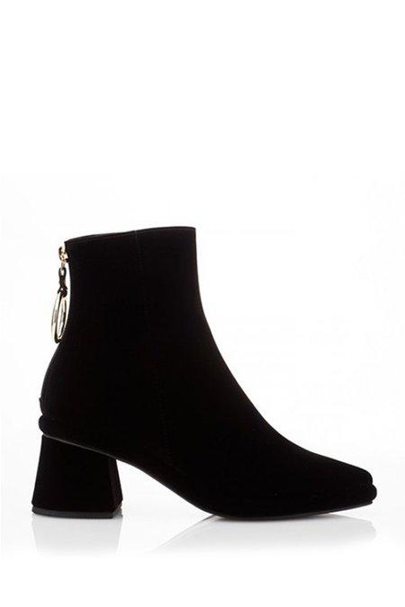 Reike Nen Velvet Ring Slim Boots - Black