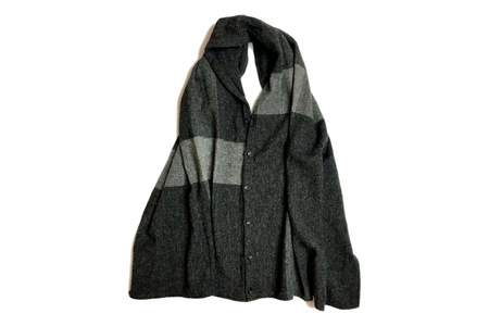 Engineered Garments Button Shawl Dk. Grey Lt. Weight Big Plaid H.B.