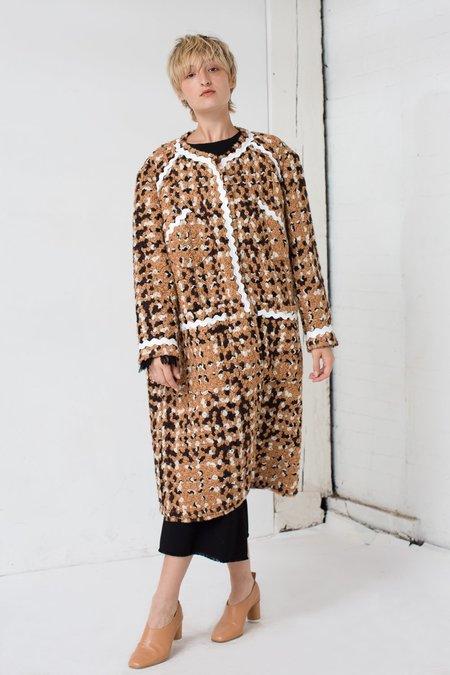 Veronique Leroy Tweed Coat in Beige