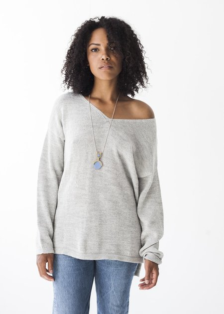 Bare Knitwear Everyday V Tunic in Light Grey
