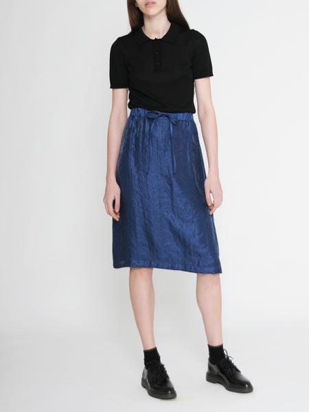 "Diarte ""Helene"" Drawstring A-line Shiny Blue Skirt"