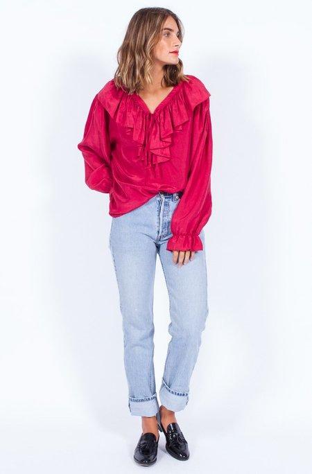 Yo Vintage! Red Silk Frill Blouse (Medium)