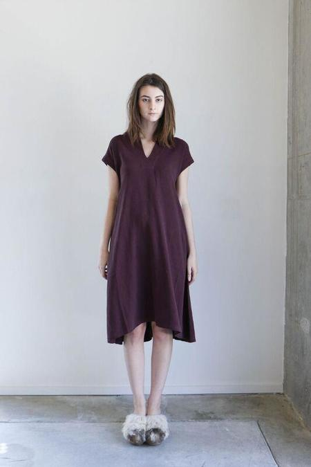 7115 By Szeki V Neck Midi Dress in Maroon