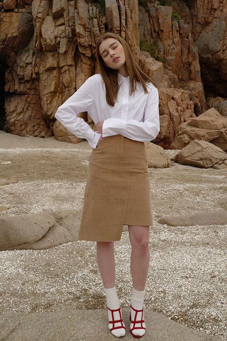 Among Asymmetric Corduroy Skirt