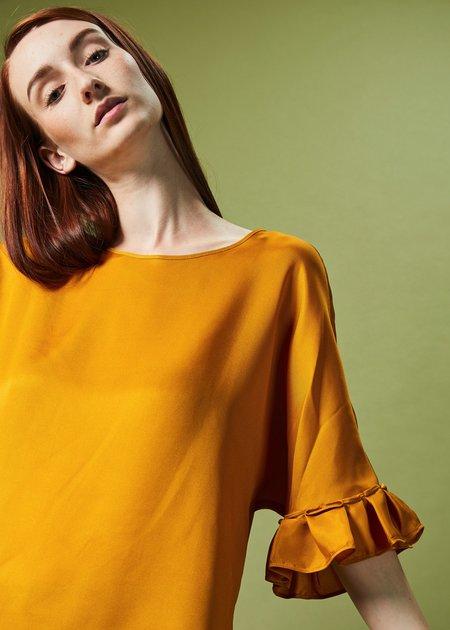 Odeeh Ruffle Sleeve Silk Blouse