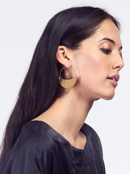Lila Rice Crescent Hoops Small Brass - Brass