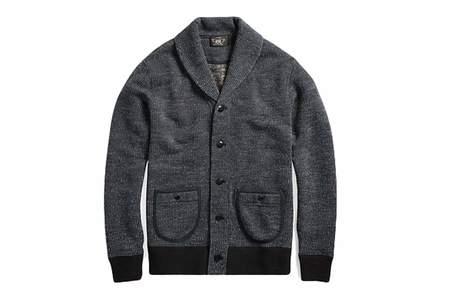 Men's RRL Cotton Blend Fleece Cardigan Navy Multi