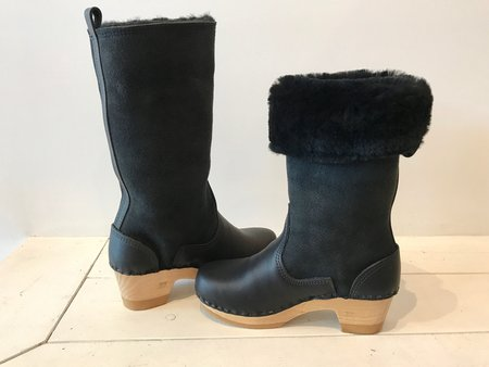 "No.6 11"" Pull On Shearling Clog Boot in Black Suede on Mid Heel"