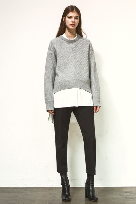 A. B Zipped Sweater- Gray