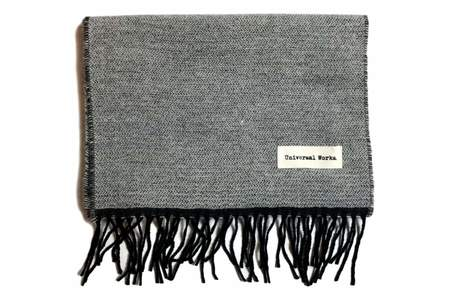 Universal Works Double Sided Scarf White & Charcoal
