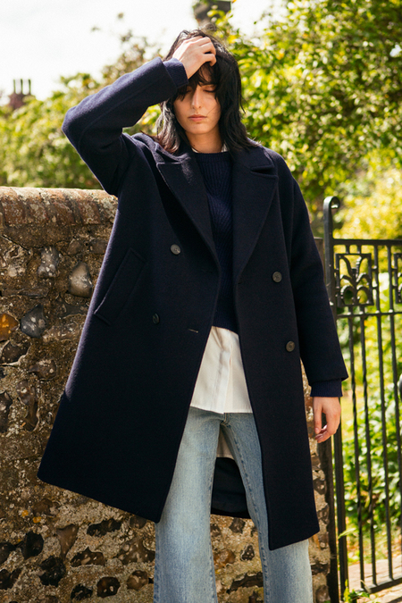 A. B Veronika Wool Coat- Navy