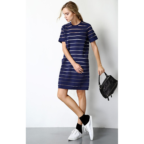 FEW MODA Sheer Striped Wool Dress