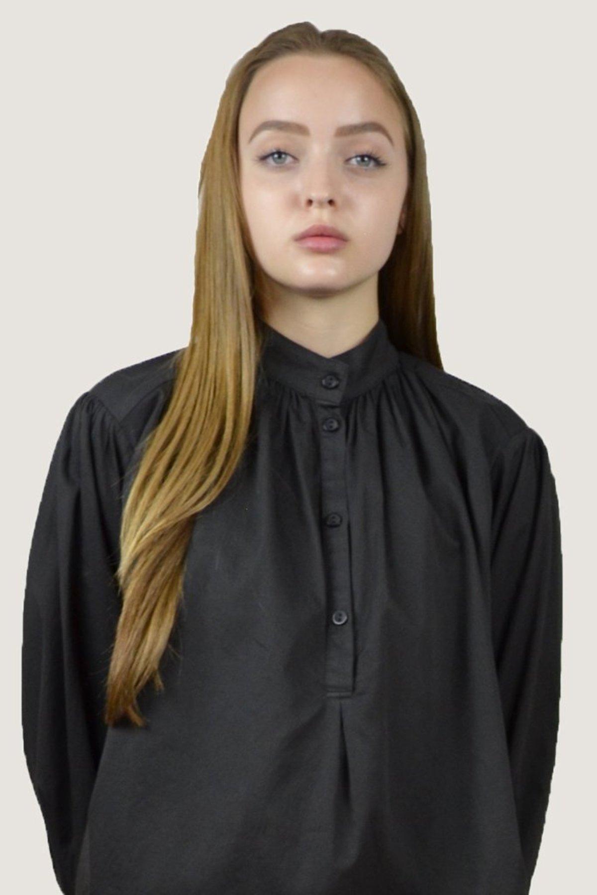 d6e2f384deaeaf Black Crane Balloon Sleeve Blouse - Charcoal | Garmentory