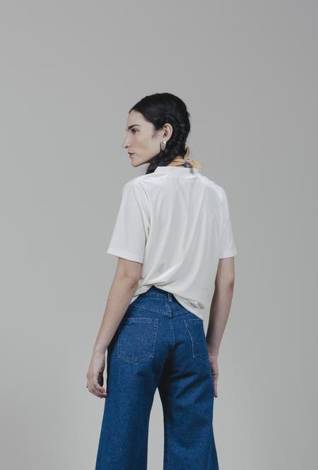 Carleen Velvet Shortsleeve - Ivory