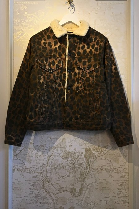 R13 Sky Trucker Leopard Denim Jacket with Shearling Lining