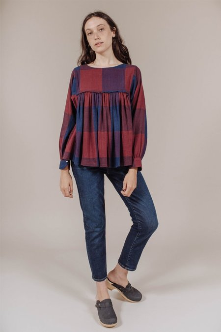 Anaak Marion Smock Blouse in Wine Check