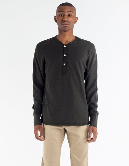 Homespun Knitwear Long Sleeve Coalminer Henley- Aged Black