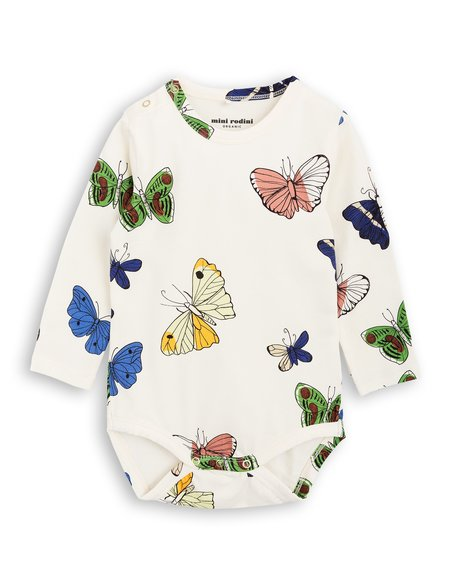 Kid's Mini Rodini Butterflies Long Sleeve Body - Off White