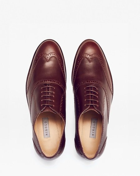 Nisolo Taylor Wingtip Shoes - Brandy