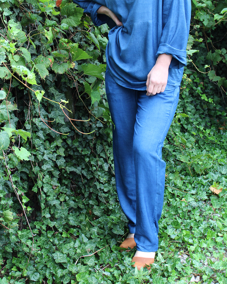 PO-EM Lounger Pants in Indigo Silk