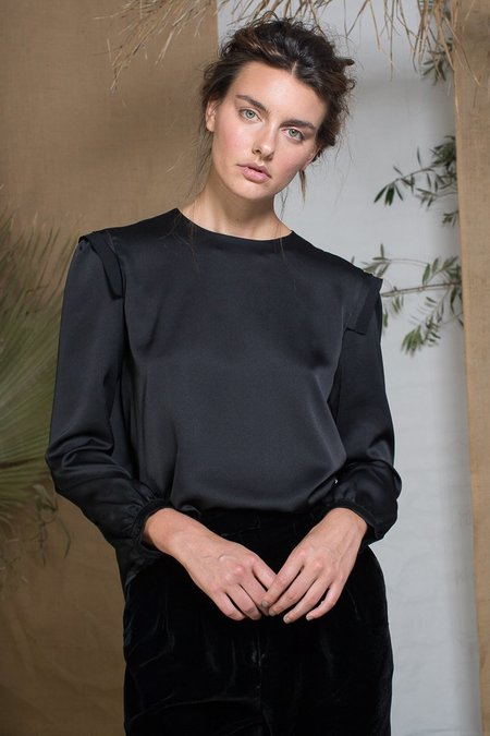 Heidi Merrick Toile Top - Black