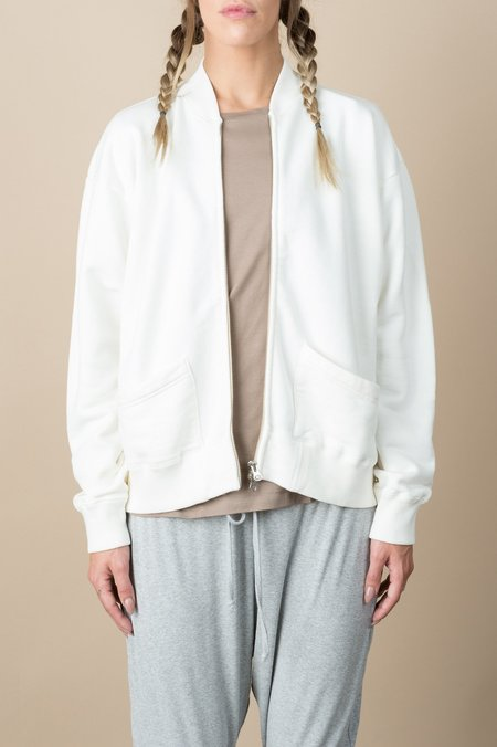 Chimala Loopwheeler Zip Up Fleece In Off White