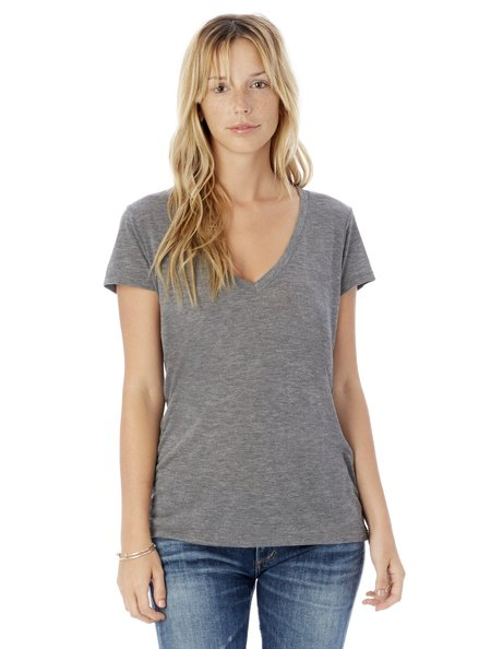 Alternative Apparel Slinky Melange Burnout V-Neck Tee in Ash Heather