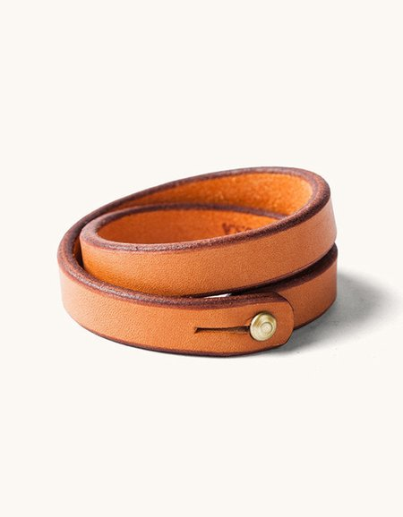 Tanner Goods Double Wristband Saddle Tan Brass